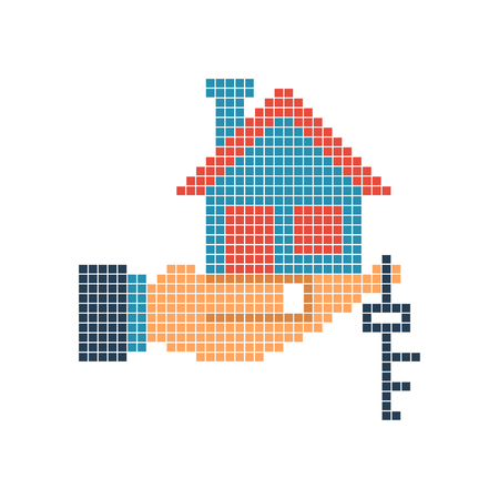House key in hand pixel on white background illustration.