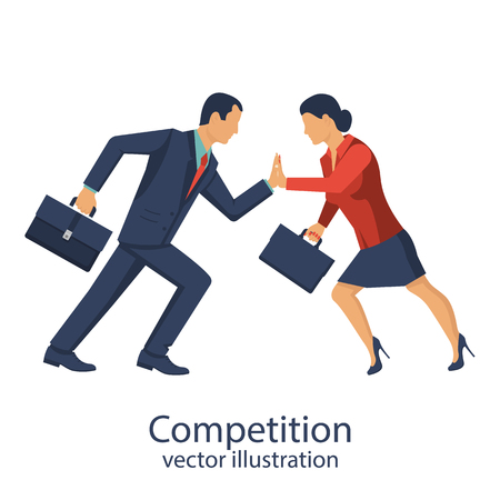 Competition concept with man and woman illustration.