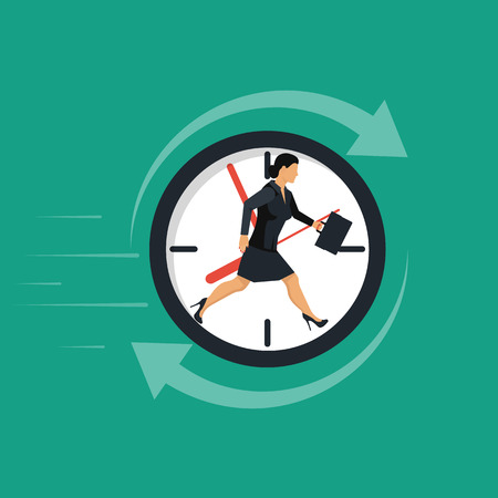 Businesswoman running away in clock