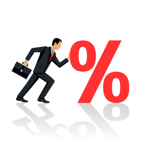 Businessman pushes sign percent. Illustration