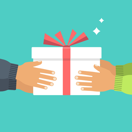 Give gift. Man holds white gift box with a red ribbon in hands. Illustration
