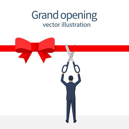 Businessman is holding big scissors cutting red ribbon.