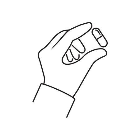 Pills in hand minimal line design. Illustration