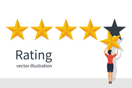 Star rating. Businesswoman holding a gold star in hand, to give. Imagens - 92528620