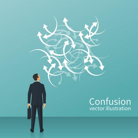 Direzione confusa Concetto di confusione. Design piatto di illustrazione vettoriale Isolato su sfondo bianco L'uomo d'affari affronta molte frecce, segnali stradali. Modo problematico. Vettoriali