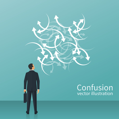 Confused direction. Confusion concept. Vector illustration flat design. Isolated on white background. Businessman faces a lot of arrows, road signs. Problem way.