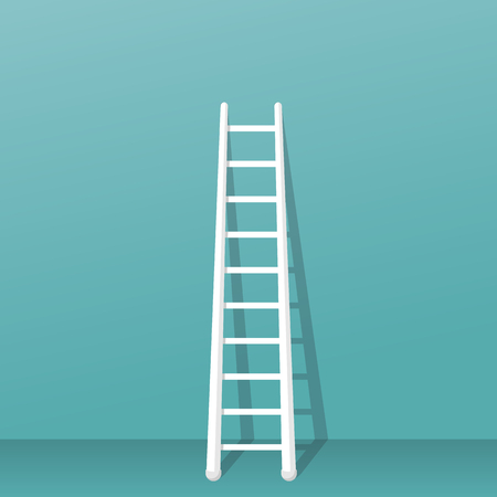 Ladder stands near the wall