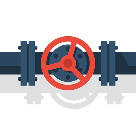 Válvula en la ilustración de vector de tubo.