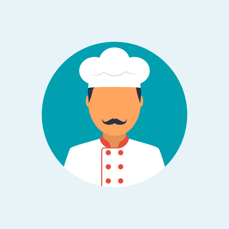 Cook flat icon. Chef avatar Иллюстрация