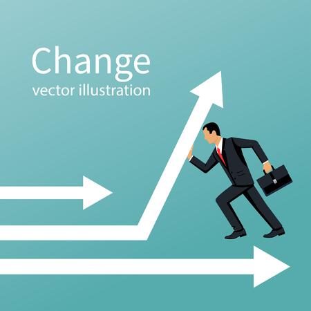Businessman change direction.  Vector illustration.