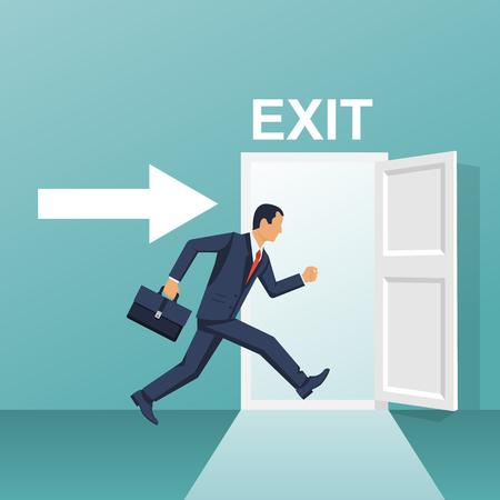 Businessman runs into open door