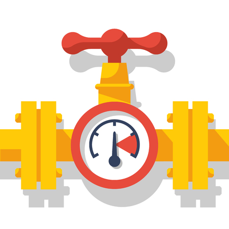 Gas pipeline with a valve and a manometer. Vector illustration.