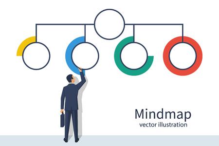 Businessman presentation structure mind map illustration. Vectores