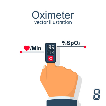Oximeter on finger vector illustration. Imagens - 95127163