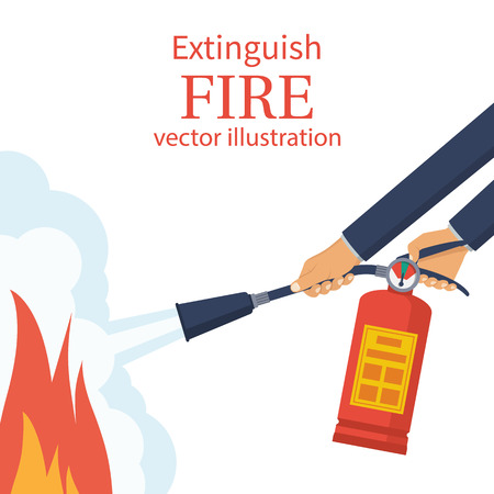 Fireman hold in hand fire extinguisher Vector illustration. Illustration