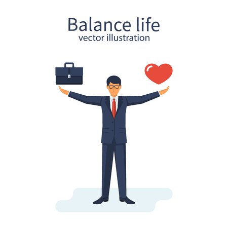 Balance life and work illustration with man balancing heart and briefcase