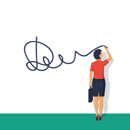 Businesswoman puts signature Illustration