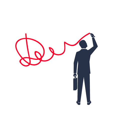 Homme affaires, met, signature, silhouette, icône