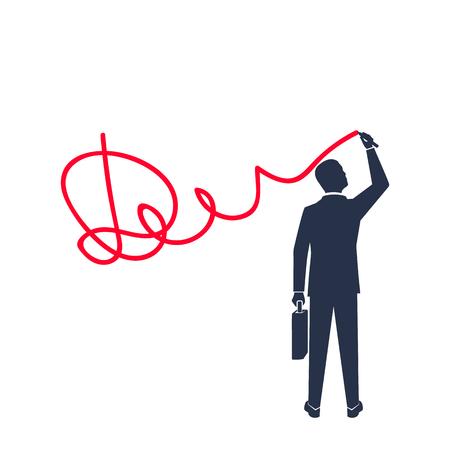Businessman puts signature silhouette icon