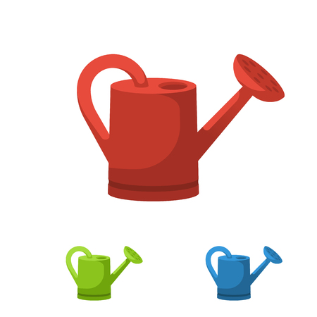 Watering can, colorful silhouette on white background.