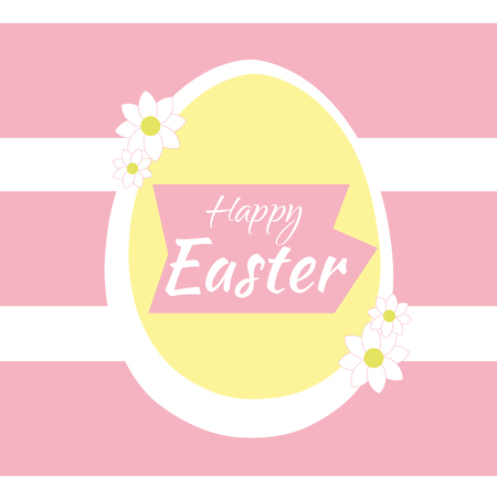 Happy easter egg with pink and white background.