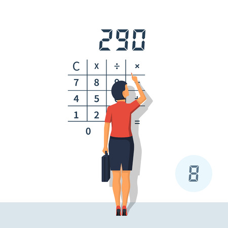 Businesswoman calculating vector illustration.