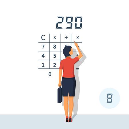 Businesswoman calculating vector illustration.