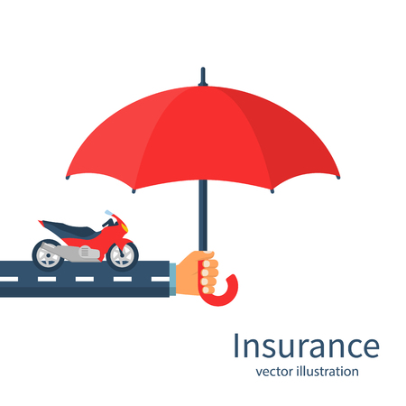 Insurance motorcycle with umbrella vector