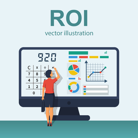 ROI concept vector with charts in computer monitor 向量圖像
