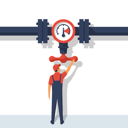 Plumber opening Flow control valve vector Illustration