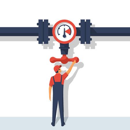 Plumber opening Flow control valve vector Stock Illustratie