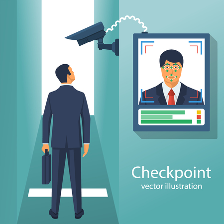 Checkpoint with a surveillance camera and system for the identification