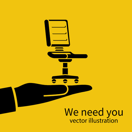 We need you vector with chair below hand illustration.