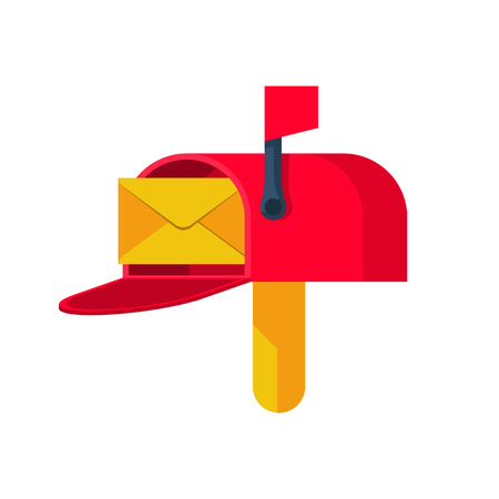 Open mailbox with paper envelope illustration.