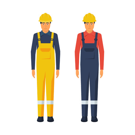 Man worker. Protective uniform and safety helmet.
