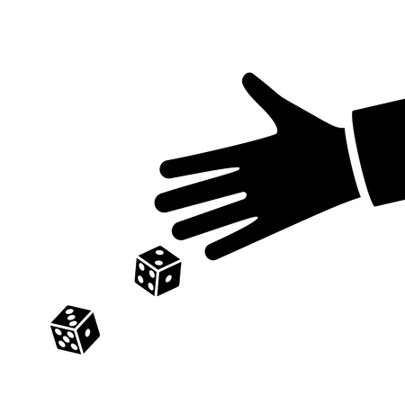 Man throws dice. Black silhouette dices on table. An avid person. Gambler. Playing in hand pictogram. Vector illustration flat design. Isolated on white background.