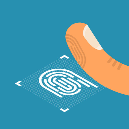ID application. Fingerprint icon. Stock Photo