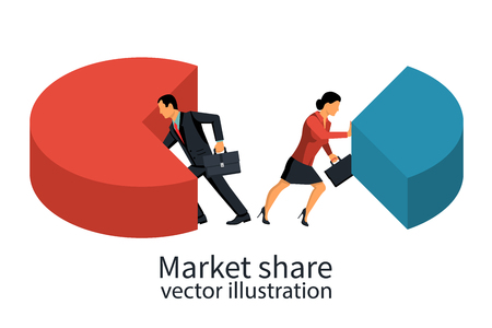 Market share business concept.
