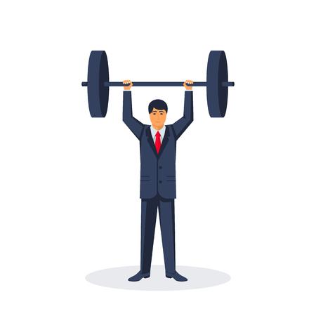 Businessman lifting a heavy barbell Stock Illustratie