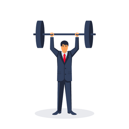 Businessman lifting a heavy barbell 向量圖像