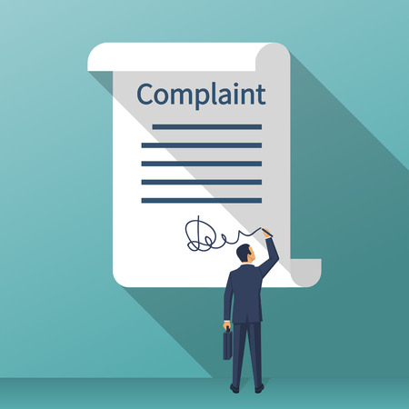 Complaint concept. Man wrote a complaint. Vector illustration flat design. Measures to solve problems. Claim petition. Sign the document on the application.