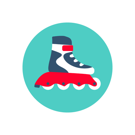 Roller skate icon. Sports equipment. Vector illustration flat design. Isolated on white background.