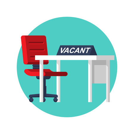 Vacant icon concept. Office empty chair with desktop. Sign as symbol of an recruiting to work. Hiring staff. Vector illustration flat design. Isolated on background. Career position.