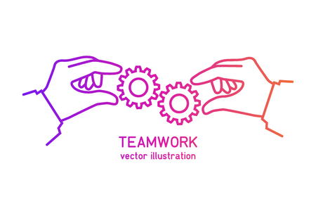 Effective teamwork concept. Flat design color line. Gear hold in hands businessman. Cooperation. Vector illustration. Template banner for web sites, space for text. Achieving results joint efforts.