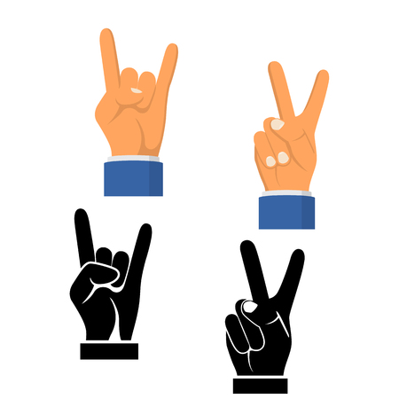 Two fingers up black icon isolated on white background. Silhouette symbol peace. Sign pictogram victory. Vector illustration flat design. Set icons gesture hand.