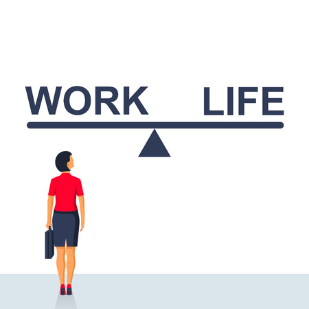Balance life and work. Businesswoman chooses between scales work and lifestyle. Vector illustration flat design. Isolated on white background. Modern businessman standing in front of a choice.