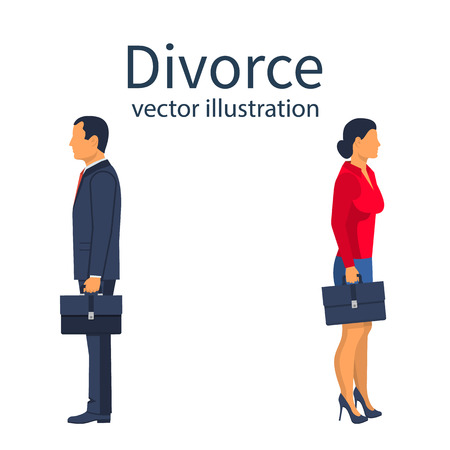 Divorce concept. Breakup concept. A man and a woman go in different directions. Crisis relationship divorce. Unhappy love, conflict. Vector illustration flat design.