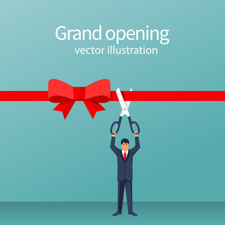 Businessman is hold big scissors cutting red ribbon. Isolated on white background. Grand opening concept. Vector illustration flat design. Template ceremony, celebration, presentation and event.