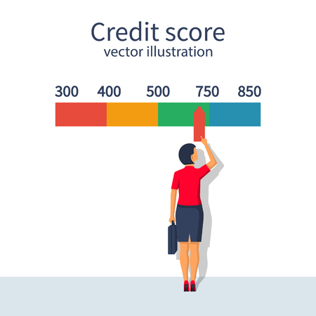 Credit score, gauge. Woman changing personal credit information. Report form document. Vector illustration flat design.Isolatedonwhitebackground. Graphsheet