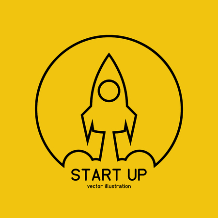 Rocket launch black line icon isolated on background. Vector illustration flat design. Business project start-up. Creative idea symbol. Development process, innovation.
